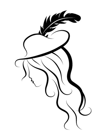 black hat: Silhouette of beautiful woman with long hair
