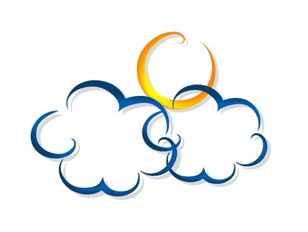 stormcloud: Cartoon clouds and sun with grey shadow