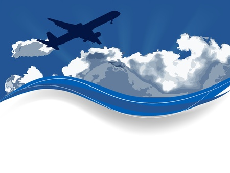 stormcloud: Travel background with airplane and white clouds Illustration