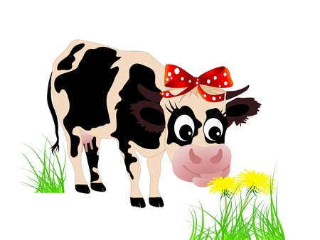 Cute cow eating dandelion in the grass Stock Vector - 12932494