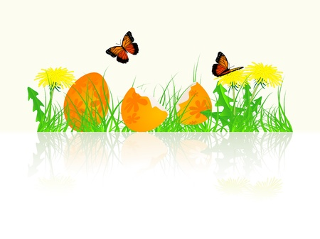 Spring border with grass, dandelions and Easter eggs Vector