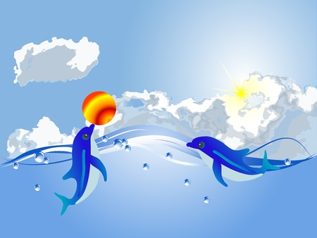 Two dolphins playig with the orange ball Vector