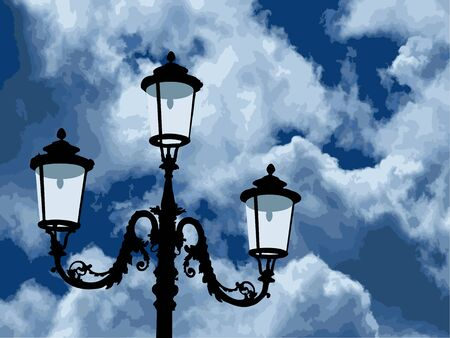 stormcloud: Old antique lamp against the blue cloudy sky