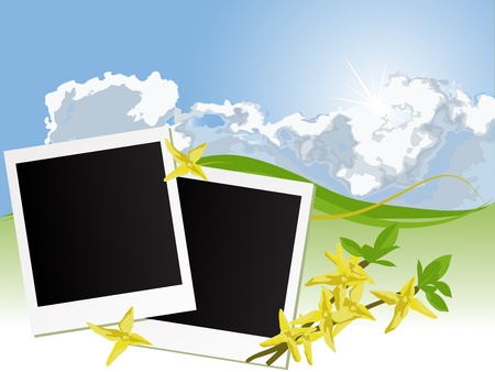 stormcloud: Blank photo frames on blue cloudy background Illustration