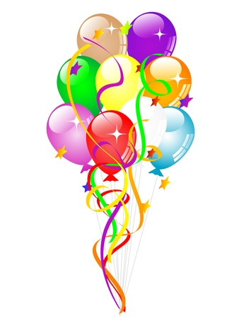 Colorful party balloons with ribbons and stars Vector