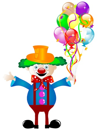 Clown with colorful party balloons and ribbons Stock Vector - 13115549