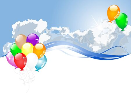 Colorful party balloons flying against cloudy sky Vector