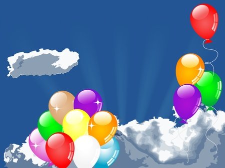 Colorful party balloons flying against cloudy sky Stock Vector - 13115536