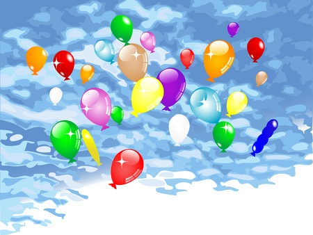 Colorful party balloons flying against cloudy sky Stock Vector - 13115541