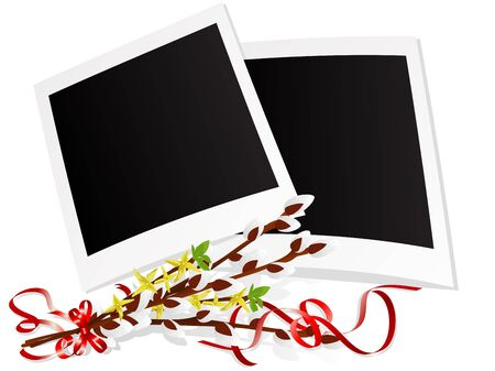 pussy yellow: Photo frames with twigs of pussy willows  Illustration