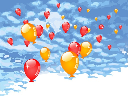 Red and orange balloons against blue sky Vector