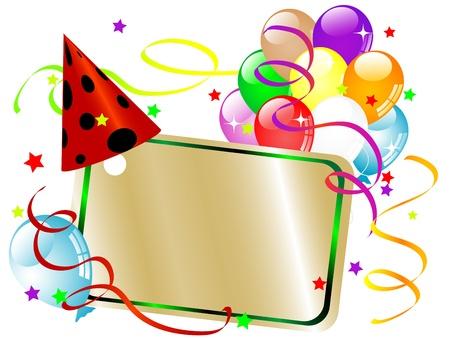 invitaci�n a fiesta: Parte de fondo con la tarjeta del lugar, los globos y cintas