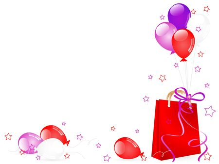 Shopping bag and red and violet party balloons Vector