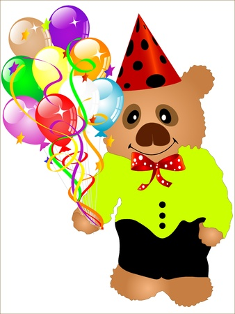 Clown teddy bear with colorful party balloons Stock Vector - 13115543
