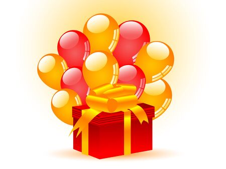 Red gift with red and orange party balloons Vector