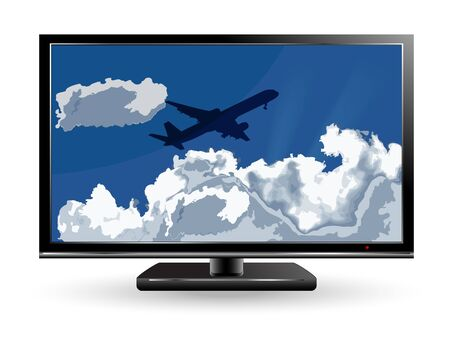 stormcloud: Travel background with airplane and white clouds in tv Illustration