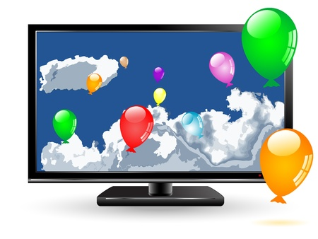 Colorful party balloons and clouds on tv screen Stock Vector - 13175305