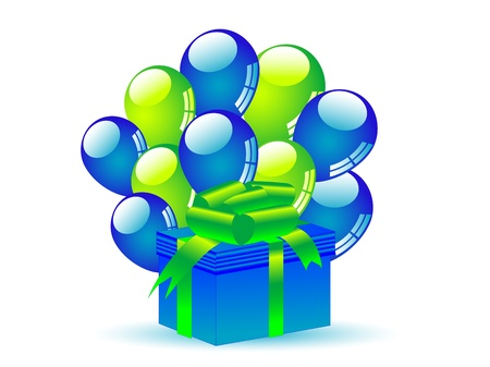 Blue gift with blue and green party balloons Vector