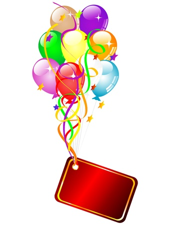 Red name card with colorful party balloons Vector