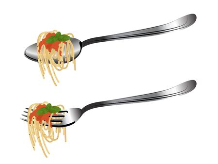 pasta fork: Spoon and fork with pasta, ketchup and basil
