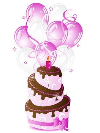 pink cake: Birthday cake for her and party balloons Illustration
