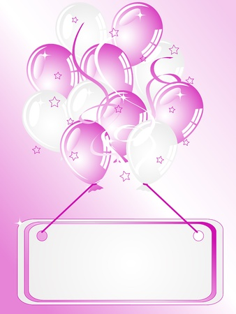 balloon border: Card and party balloons in pink color Illustration