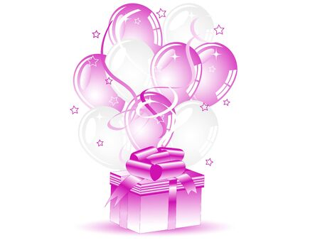 Rose gift for her and party balloons Vector