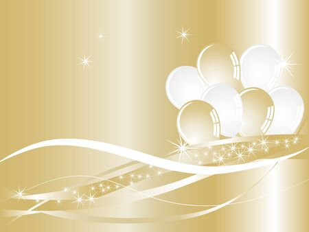 Golden luxury background with party balloons and stars Vector