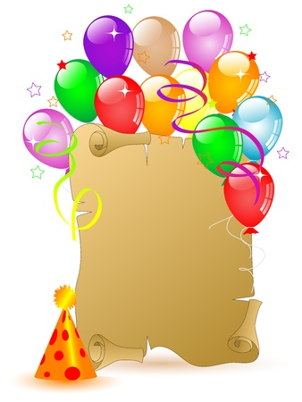 Old scroll for your text and colorful party balloons Vector