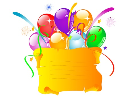 Orange scroll for your text and colorful party balloons Vector