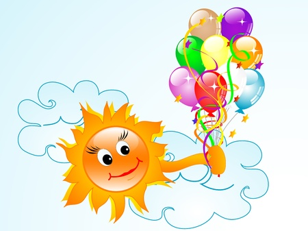 Cartoon smiling sun with colorful party balloons Stock Vector - 13283017