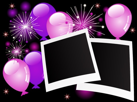 Blank photo frames with violet balloons and stars Vector