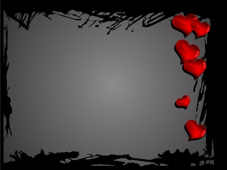 Abstract black grunge frame with red hearts Vector