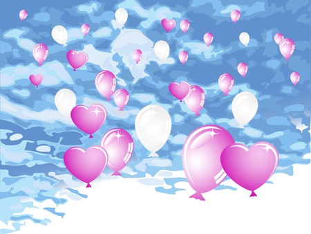 Pink and white balloons against blue sky Vector