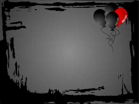 foe: Abstract black grunge frame with black balloons, one is red Illustration