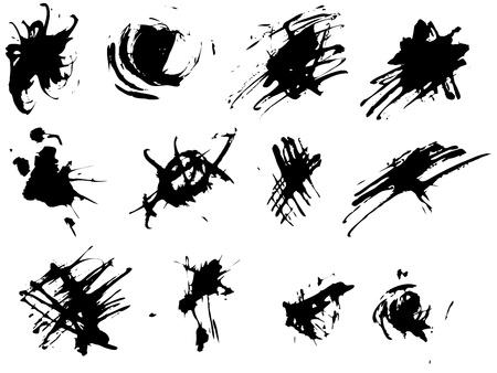 Black grunge ink splats on white background Stock Vector - 13445305