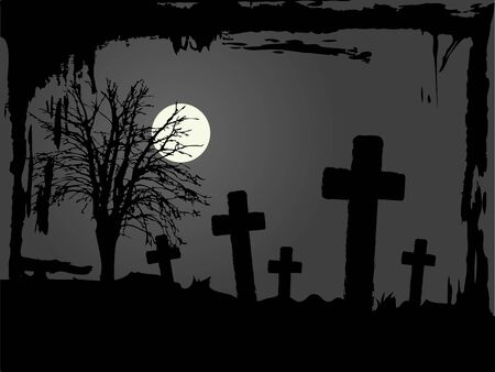 Cemetery in the night illustration Stock Vector - 13441009