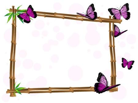 竹フレームの葉とピンクの蝶