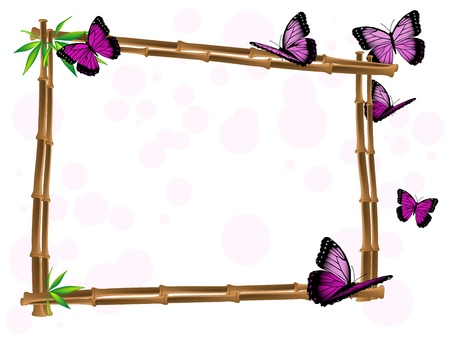 Bamboo frame with leaves and pink butterflies