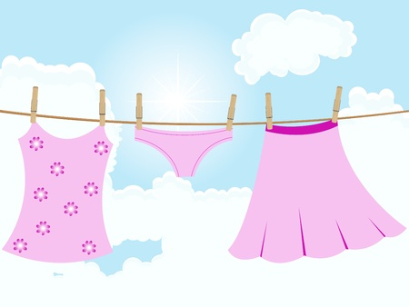 clothes peg: Her pink clothes hanging on the rope Illustration