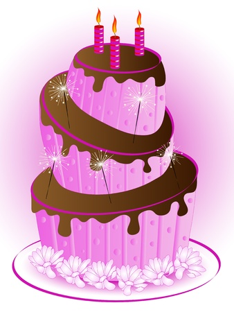 Pink birthday cake with three candles