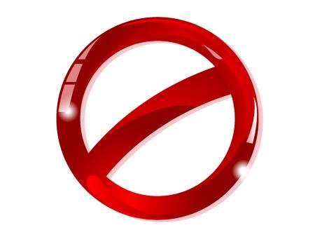 Blank glass forbidden sign  Stock Illustratie