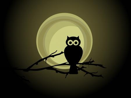 満月に対してフクロウのシルエット  イラスト・ベクター素材