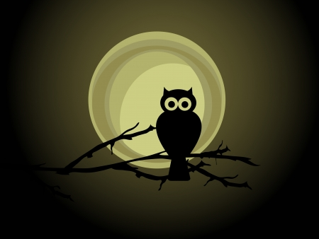 Silhouette of the owl against the full moon Çizim