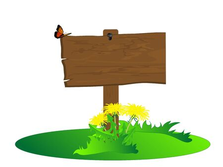 Wooden signboard with dandelions and butterfly Vector