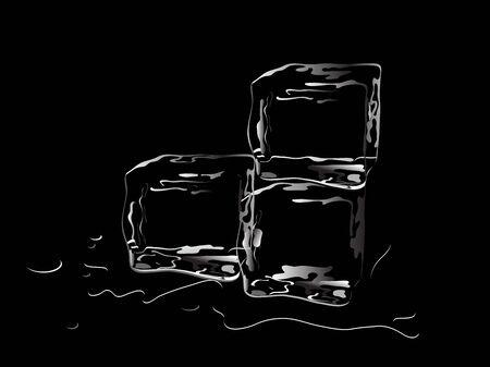 cubos de hielo: Tres cubos de hielo sobre fondo negro