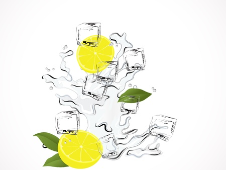 Fresh lemon water with ice cubes Stock Vector - 13777871