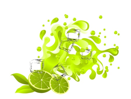wavelet: Limes and green juice splash with ice cubes Illustration