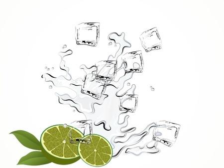 Limes and water splash with ice cubes Vector