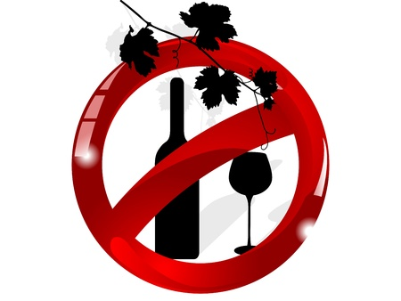 Red glass forbidden sign with he wine Vector